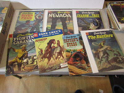 DELL 10c ZANE GREY COWBOY WESTERN COMICS - LOT OF 7 FROM 1950s