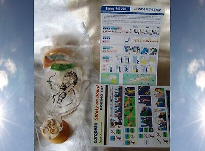 Airline Collectible Safety Cards Oxygen Mask VINTAGE Boeing 747 Airplane things