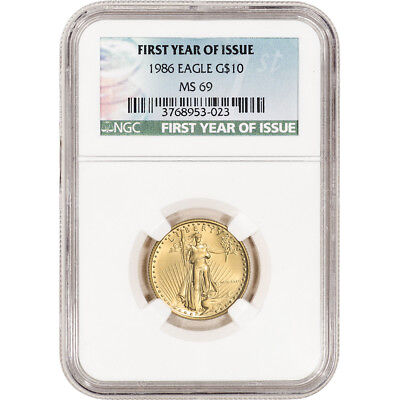 1986 American Gold Eagle 1/4 oz $10 - NGC MS69 - First Year of Issue