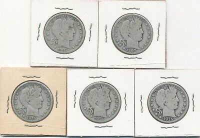 Lot of five (5) Barber Silver Half Dollars 1907 and 1915 - FREE Shipping