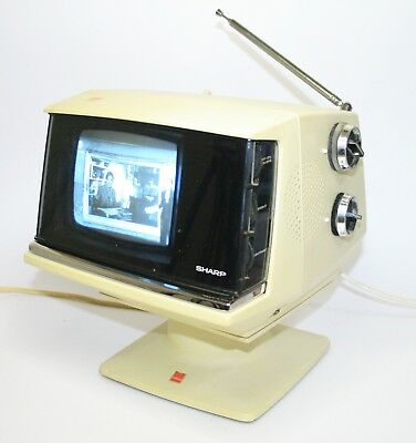 Early '70S Working Sharp 3S-111W Vintage Portable Television Space Age