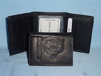CHICAGO BEARS   Leather TriFold Wallet    NEW    black 3v
