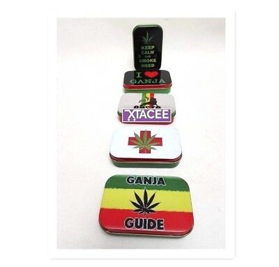 Tobacco 1oz Gift Tin HINGED Ganja Weed Leaf Print Smokers Gift x 1pc NEW