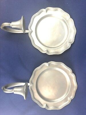 Colonial Casting Company Pair Of Vintage Pewter Wall Sconces/Candleholders