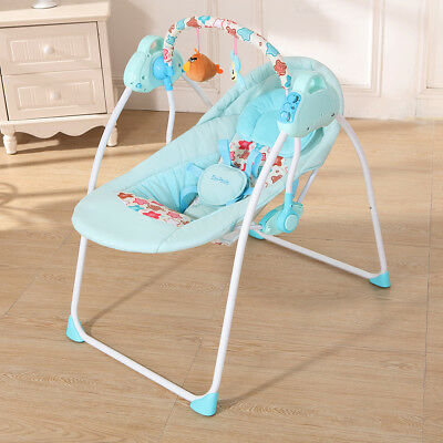 Electric Baby Cradle Swing Rocking Remote controller Chair Sleeping Basket D3W3