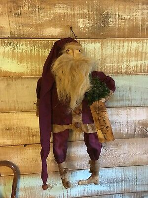 """Primitive Santa grungy doll with tree burgundy suit with long cap tag bells 24"""""""