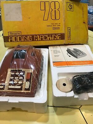 VINTAGE Sears Roebuck Electric Adding Machine 78 Orange NEW w/Paper Ribbon Box