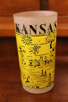 Vintage Hazel Atlas State Frosted Glass Souvenir Yellow Kansas State 5""