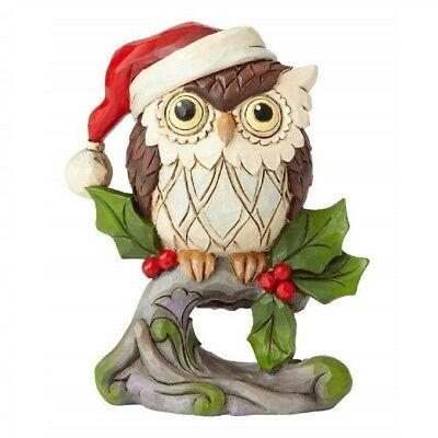 Jim Shore Heartwood Creek Owl On Branch Miniature Christmas Figurine 6001498 New
