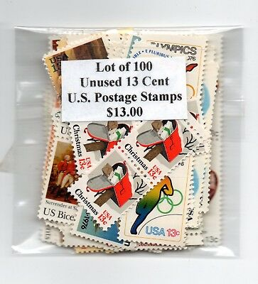 ONE HUNDRED (100) Unused 13 Cent U.S. Postage Stamps $13.00 Face Value (#2)