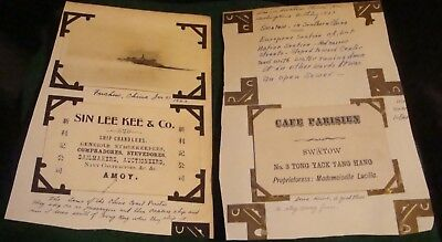 2 1923 era chinese business cards, swatow-fuchow, written history included photo