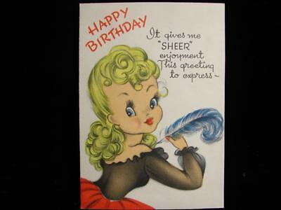 "Vintage ""this Greeting Gives Me 'sheer' Enjoyment!!"" Birthday Greeting Card"
