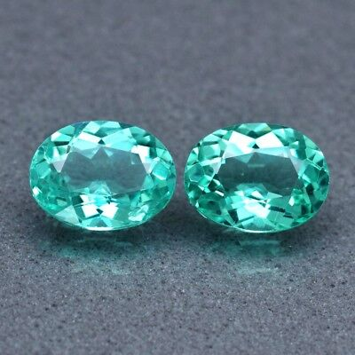 Pair 2pcs/1.61ct t.w Oval Natural Unheated Paraiba-Color Neon Green Apatite
