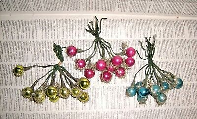 Tinsel Wire Mercury Glass Ball Ornaments Clusters Small Cranberry Peridot Blue