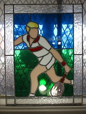 Vintage Stained Glass of Tennis Player  Sun Catcher Art Glass Window Panel