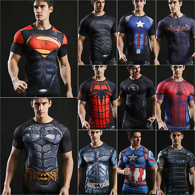 Men T-Shirt Compression Tops Superhero Avengers Marvel Muscle Fitness Tee Sports