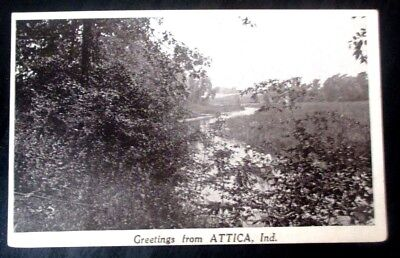 Souvenir 1910s prelinen postcard of Greetings from Attica, Ind.
