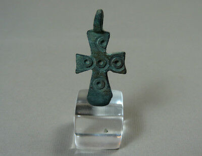 ANCIENT CROSS PENDANT BRONZE BYZANTINE 400-600 AD * Holiday reduced prices