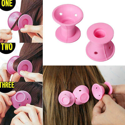 Useful 30Pc Pink Silicone Hair Curlers Set Kit Magic Soft Rollers Hair Care