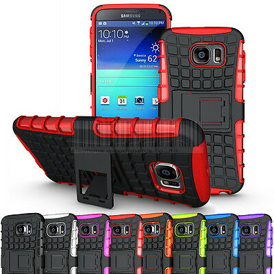 For Samsung Galaxy S6 Rugged Slim Rubber Hard Hybrid Case Shockproof Stand Cover