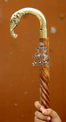 Vintage Antique Elephant Brass Head Wooden Walking Cane Stick Spiral Style Shaft
