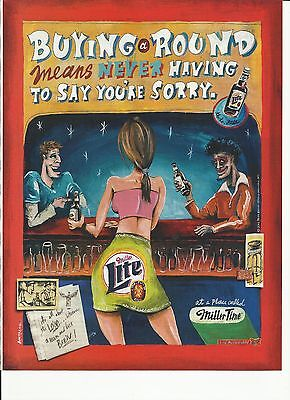 Buying A Round- Miller Lite 2002 print magazine beer ad.