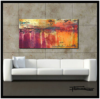 ABSTRACT PAINTING MODERN CANVAS WALL ART LARGE Signed Framed USA ELOISExxx