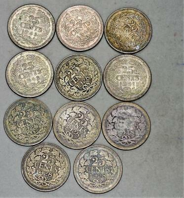 Netherlands 25 Cents Lot of 11 Silver Coins