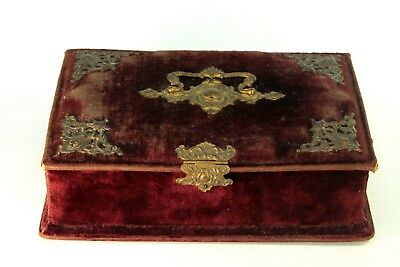 ! Antique Victorian English Red Velvet & Gilt Brass Sewing Box Case Chest