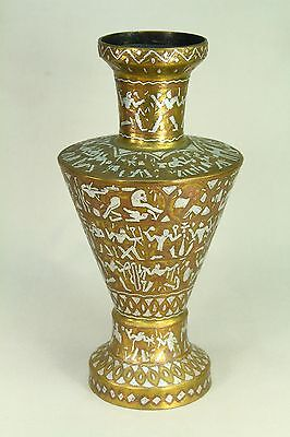 !Antique 1800's Cairo Ware Egyptian Silver & Copper on Brass Vase Egyptology 12""