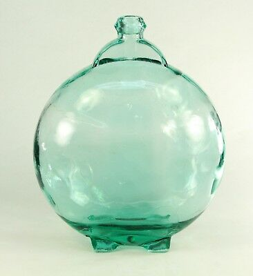 ! Antique Blown Aquamarine Glass Large Canteen Flask Bottle Demijohn