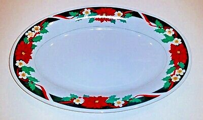 Tienshan Oval Christmas Platter Serving Dish Poinsettia Accent Fine China