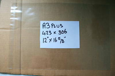 100 A3 PLUS 306mm x 432mm CELLOPHANE BAGS SELF-SEAL CRAFT PHOTOGRAPHY P&P INC UK