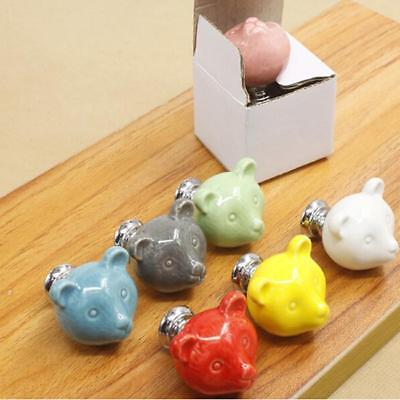 Kids Cabinet Door Knobs Cartoon Bear Furniture Handle Pull Decorative Knob F