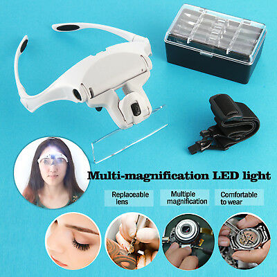 Headset Magnifier Hand Free Magnifying Glass LED Eyelash Extension Jewelry Loupe