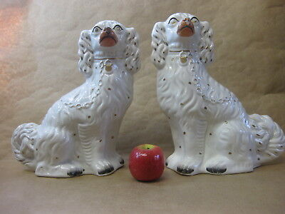 Pair of Large Antique Staffordshire Spaniel Dogs ~ Mantel / Wally ~ Victorian