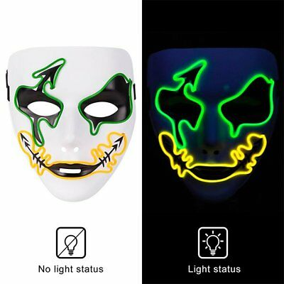 EL Wire LED Glow Luminous Ball Mask Light Up Halloween Home Xmas Party USA
