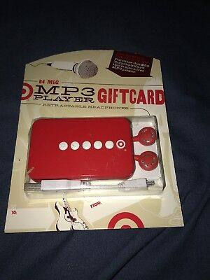 New Target Gift Card 64 Mb Mp3 Player W/ Retractable Headphone - No Value
