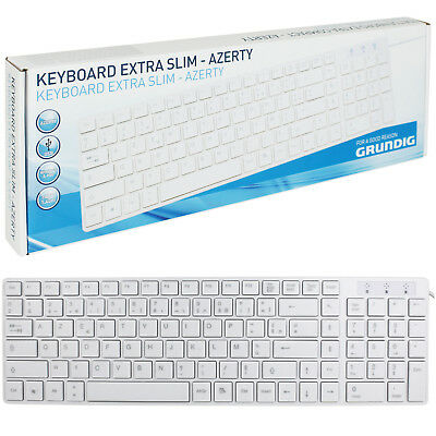 Grundig USB Tastatur Keyboard Computer PC Kabel Slim Flach Windows Mac AZERTY
