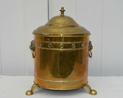 Antique Brass Coal Scuttle Bucket Bin Planter 2 Lion Head Ring Handles 3 Feet
