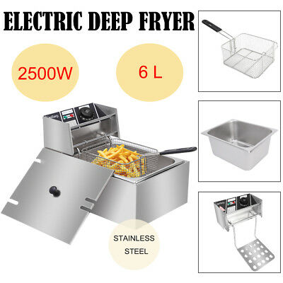 2500W 6.3QT Electric Deep Fryer Home Frying Cooking Machine Commercial 6L