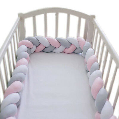 2M/3M Crib Infant Plush Baby Protector Bumper Bed Bedding Cot Braid Pillow Pad