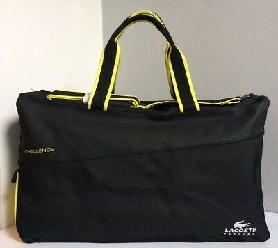 Lacoste Parfum Challenge Black Yellow Sports Holdall Bag With Long Strap (New)