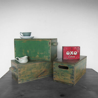 Rustic Vintage Pine Box Chest Green Storage Antique Painted Wood Display Old 40s