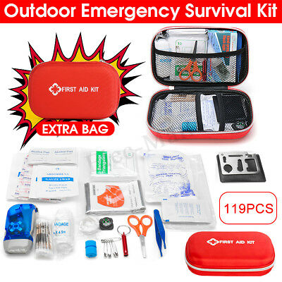 119Pcs Survival First Aid Kit SOS Medical Bag For Home Outdoor Emergency Set