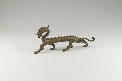 Large Antique 19/20thC Chinese Qing Bronze Copper Alloy Dragon Support Andiron