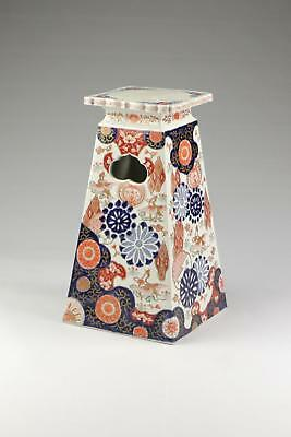 Rare Large Antique Japanese Meiji Arita Imari Square Pyramid Porcelain Stand