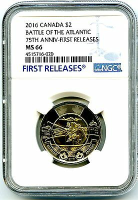 2016 Canada $2 Ngc Ms66 First Releases Battle Of The Atlantic 75Th Anniversary