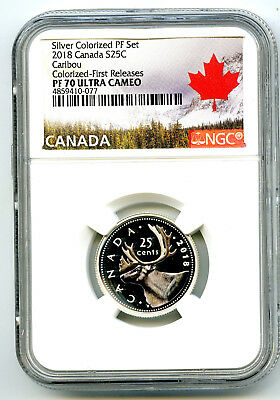 2018 Canada 25 Cent Silver Colored Proof Ngc Pf70 Ucam Quarter First Releases