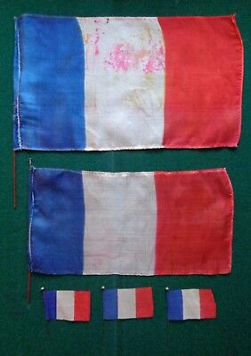 Antique French France Bunting Silk Flags Tricolour